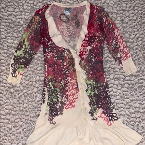 Anthropologie Tabitha floral ruffled cardigan-sm
